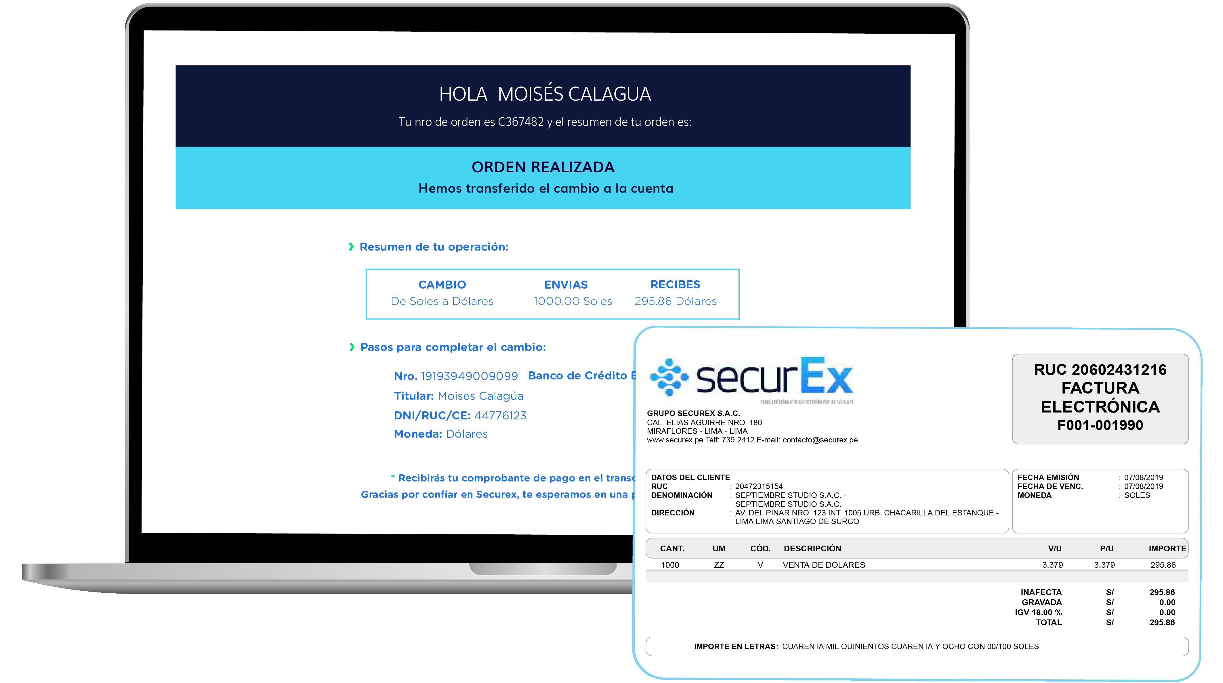 recibe proceso cambiar dolares securex