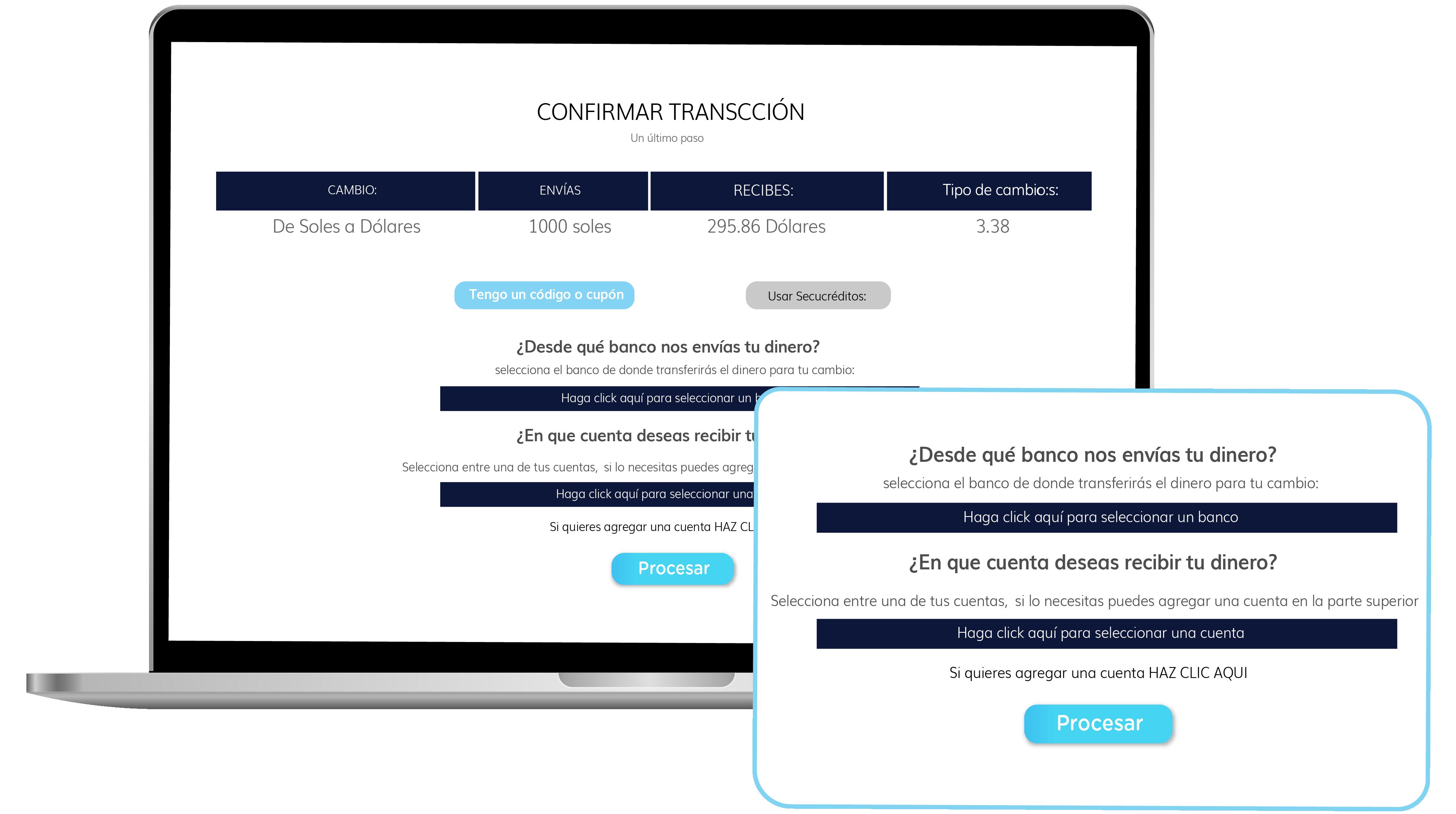 registra proceso cambiar dolares securex
